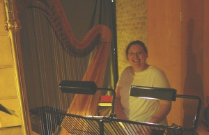 Harpist Catherine Thomas after performing Kate's Immortal Words of Sappho