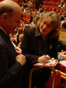 Kate signing autographs after the premiere of her Scenes of Childhood for string quartet at the Cologne Philharmonie